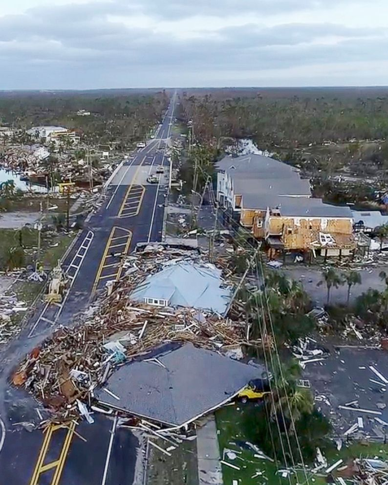 In this image made from video, damage from Hurricane Michael is seen in Mexico Beach, Fla., Oct. 11, 2018.