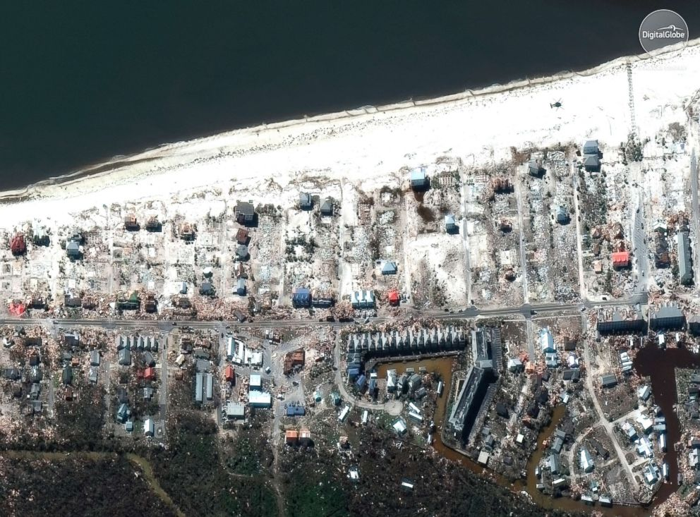This satellite image provided by DigitalGlobe shows part of Mexico Beach, Fla., Oct. 12, 2018.