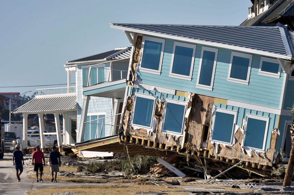 PHOTO: View of the damaged caused by Hurricane Michael in Mexico Beach, Fla., Oct. 13, 2018.