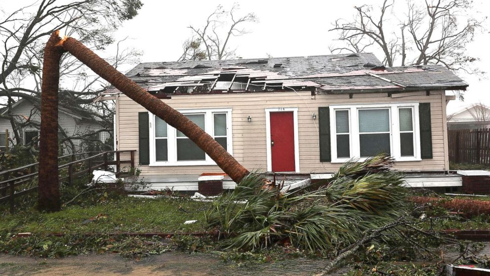 A damaged home is seen after hurricane Michael passed through the area on Oct. 10, 2018, in Panama City, Fla.