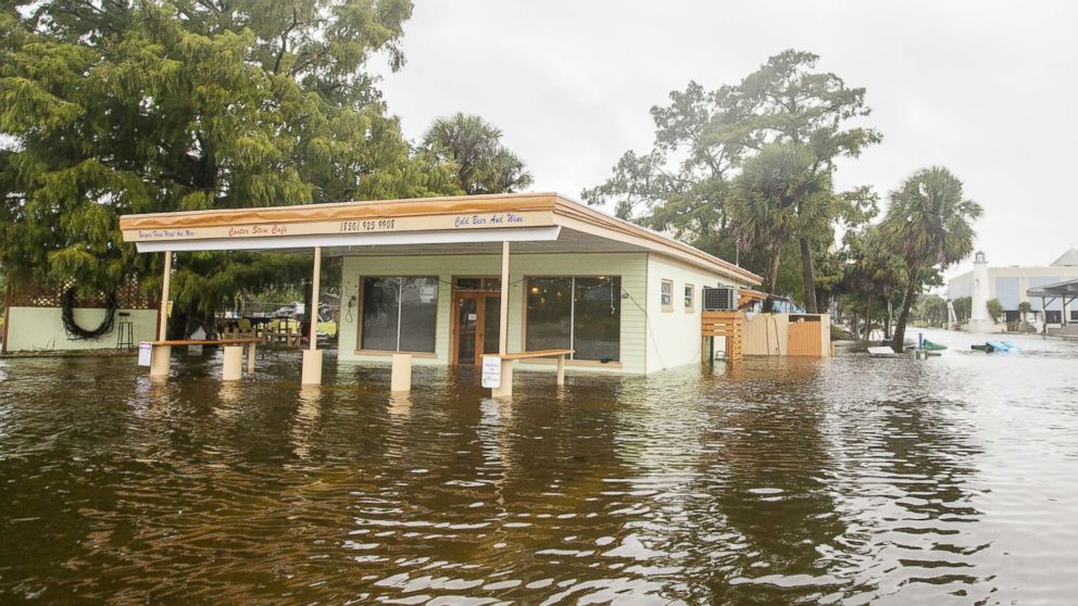 The Cooter Stew Cafe starts taking water in the town of Saint Marks as Hurricane Michael pushes the storm surge up the Wakulla and Saint Marks Rivers which come together here on Oct. 10, 2018, in Saint Marks, FLa.
