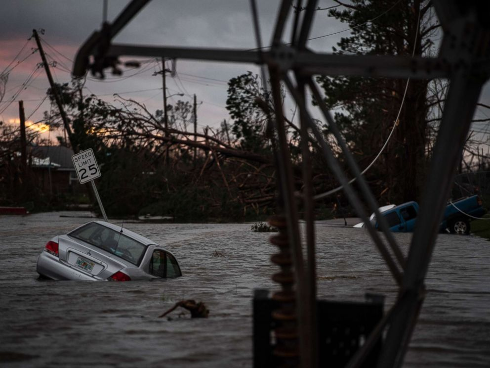 PHOTO: A car is seen caught in flood water after category 4 Hurricane Michael made land fall along the Florida panhandle, Oct. 10, 2018 in Panama City, Fla.