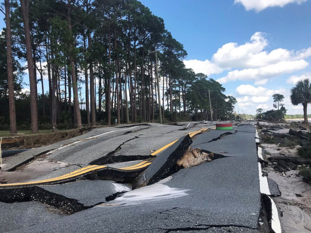 PHOTO: A damaged road is pictured after Hurricane Michael blew through Carrabelle, Fla., Oct. 11, 2018.