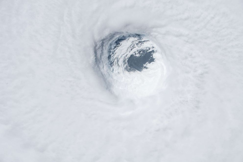 PHOTO: A view from the International Space Station of Hurricane Michael as it churns strikes the Panhandle of Northwest Florida on Oct. 10, 2018, in Earth Orbit.