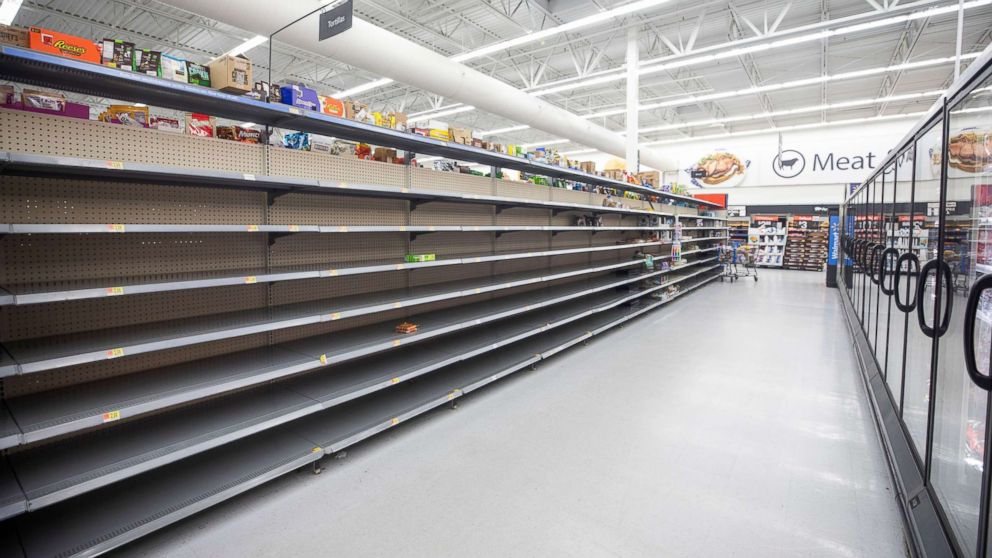 The bread aisle at Walmart is empty two days before Hurricane Florence is expected to strike Wilmington, N.C., Sept. 12, 2018.
