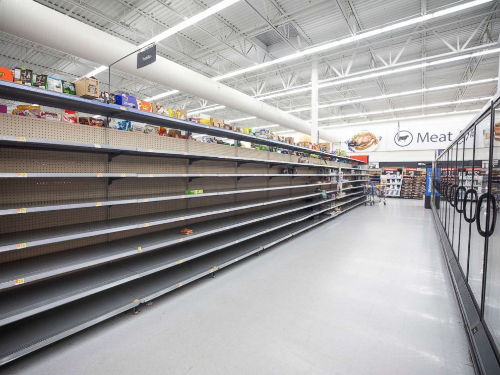 PHOTO: The bread aisle at Walmart is empty two days before Hurricane Florence is expected to strike Wilmington, N.C., Sept. 12, 2018.