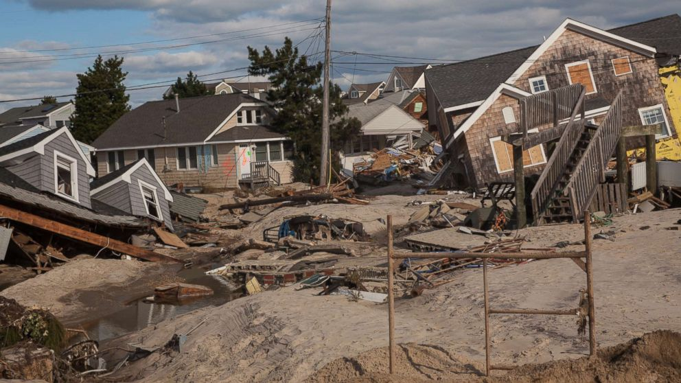 Homes knocked off their foundations following the storm surge produced by Hurricane Sandy, Nov. 3, 2012, Brick Beach, N.J.