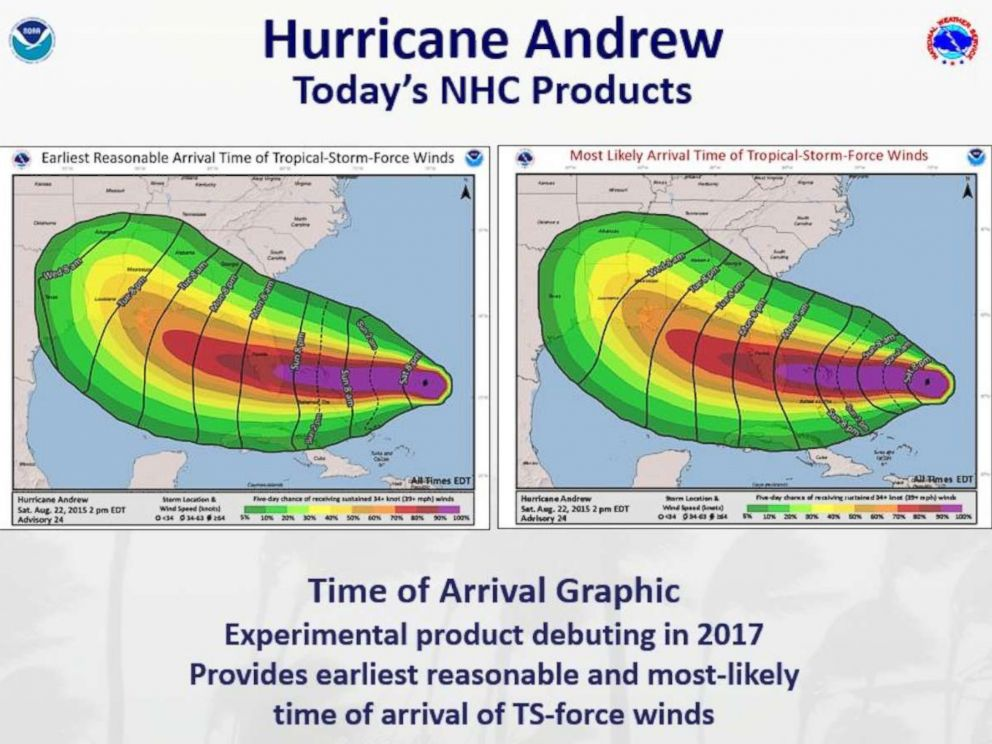 PHOTO: This year, the National Hurricane Center introduced a graphic that shows the estimated time of arrival of tropical-storm force winds as an experimental product.