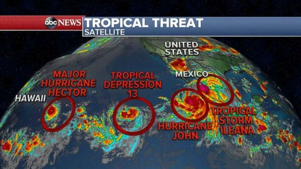 The Pacific Ocean currently has four tropical cyclones stretching from Hawaii back to Mexico.