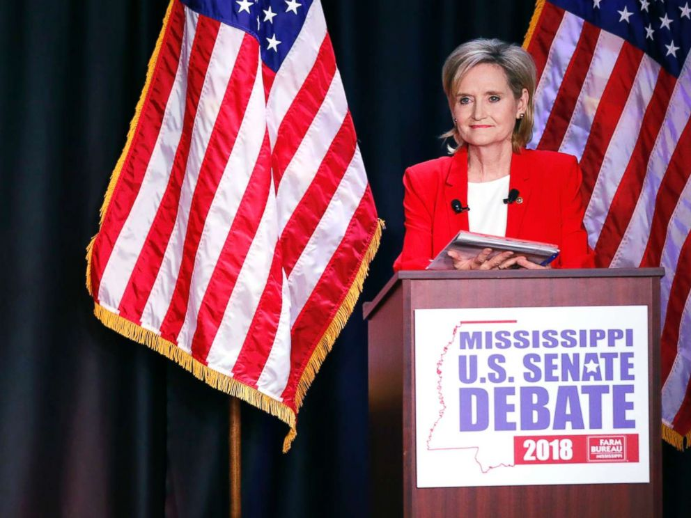 PHOTO: Democrat Mike Espy, left, challenges an answer from appointed U.S. Sen. Cindy Hyde-Smith, R-Miss., during their televised Mississippi U.S. Senate debate in Jackson, Miss., Nov. 20, 2018.