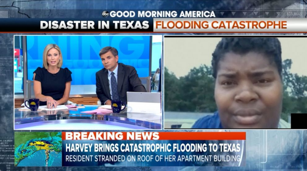 PHOTO: Iashia Nelson was interviewed live on Good Morning America from a roof in Houston as she waited to be rescued during Hurricane Harvey in 2017.
