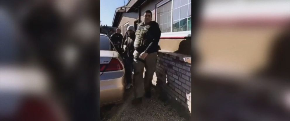 PHOTO: Immigration and Customs Enforcement agents arrest an undocumented immigrant in front of his wife and daughter while he was gardening at his home in Napa, Calif., Feb. 25, 2018.