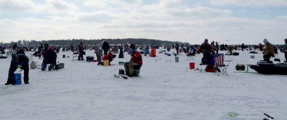 PHOTO: ABC News Michael Koenigs spoke with ice fishers at the largest ice fishing tournament in Minnesota.