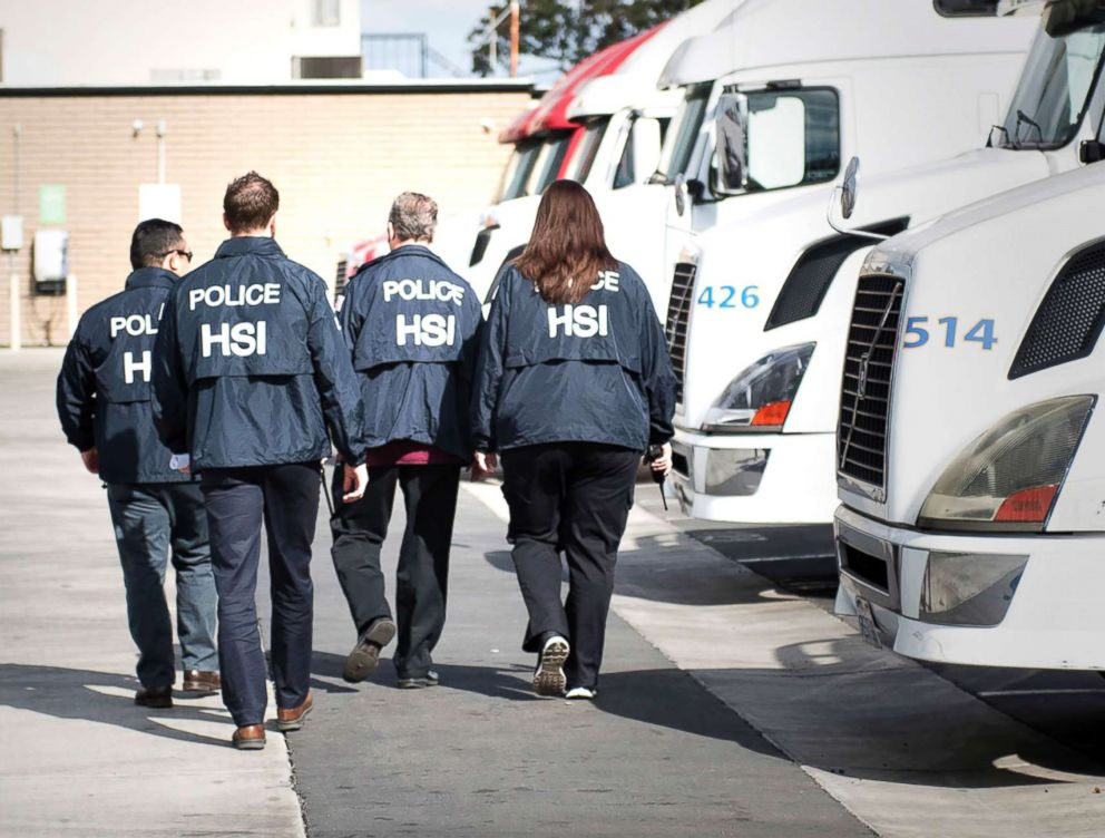Homeland Security Investigations agents from the U.S. Immigration and Customs Enforcement (ICE) are seen in this undated photo.