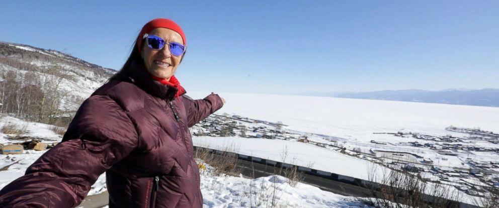 PHOTO: Alicja Barahona smiles for the camera as she prepares to run the Baikal Ice Marathon in Siberia.