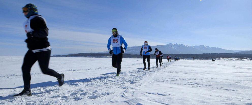 PHOTO: Runners taking part in the Baikal Ice Marathon in Siberia.