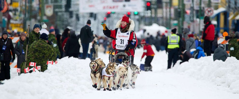 PHOTO: Musher Aliy Zirkle runs her team during the ceremonial start of the Iditarod Trail Sled Dog Race, March 3, 2018, in Anchorage, Alaska.