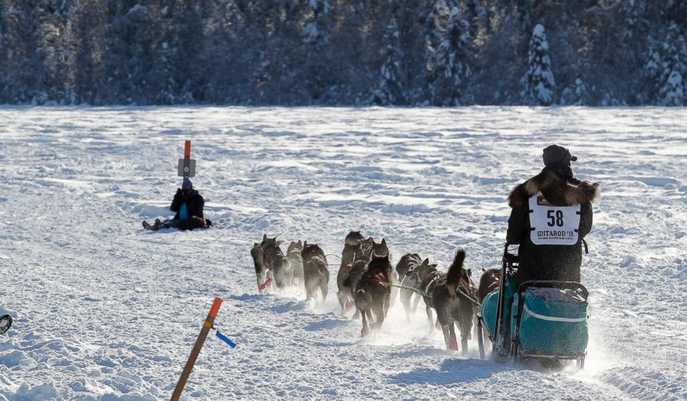 PHOTO: Emily Maxwell at the start of the Iditarod Trail Sled Dog Race in Willow, Alaska, Mar. 4, 2018.