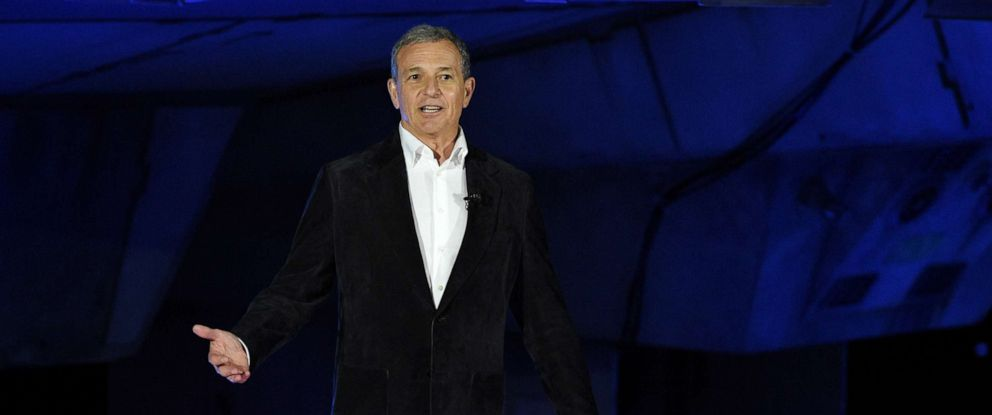 PHOTO: Walt Disney Co. Chairman and CEO Bob Iger addresses the crowd during a dedication ceremony for the new Star Wars: Galaxys Edge attraction at Disneyland Park, May 29, 2019, in Anaheim, Calif.