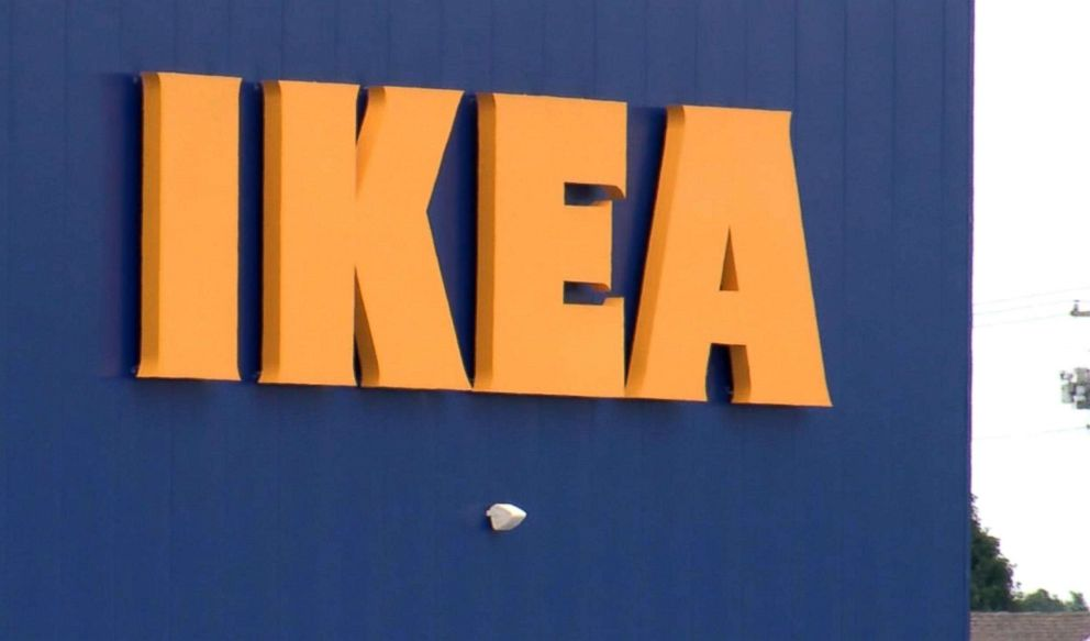 PHOTO: An IKEA sign is posted on the side of an IKEA store in Fishers, Ind., where a boy fired a loaded gun that he found in a couch on June 25, 2018.