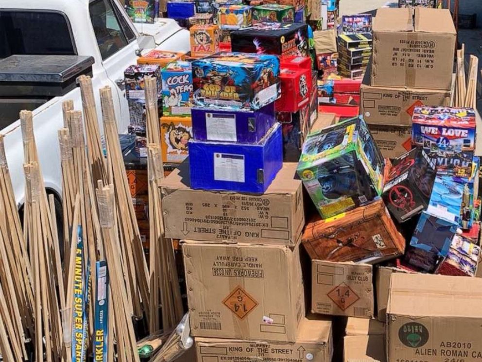 PHOTO: Long Beach, Calif., police seized about 5,000 pounds of illegal fireworks on Friday, June 28, 2019.