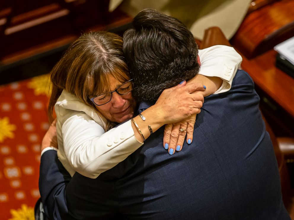 PHOTO: Gov. J.B. Pritzker hugs state Sen. Melinda Bush as they celebrate the Illinois Senate passage of the Reproductive Health Act, late Friday, May 31, 2019, in Springfield, Ill.