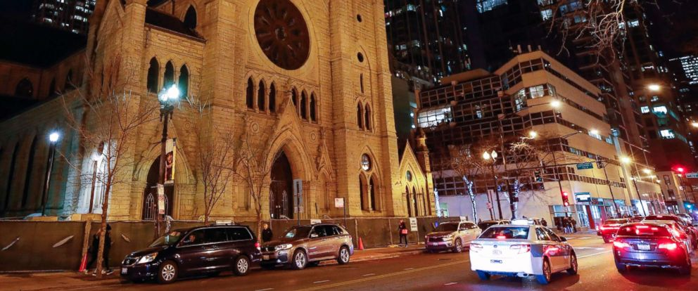 PHOTO: Cars drive past the Holy Name Cathedral in Chicago on Dec. 19, 2018.