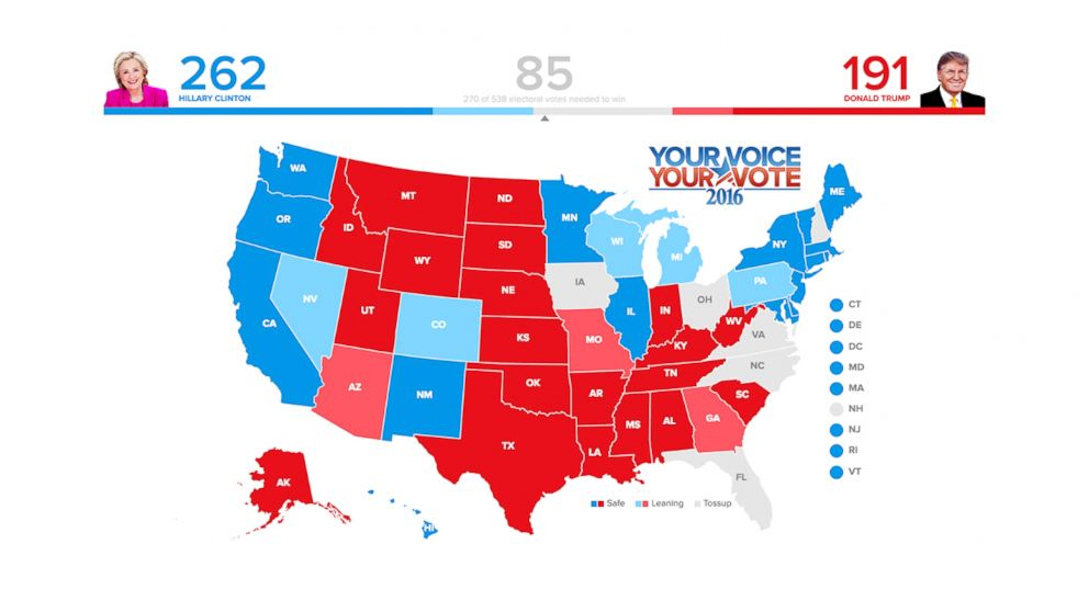 Electoral Map 2016 Forecast Who Will Win Clinton Or Trump Abc News - Us-election-map-interactive