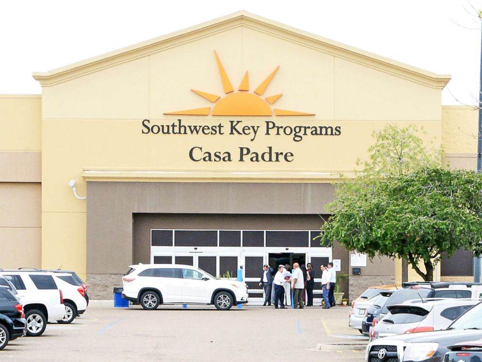 PHOTO: Dignitaries take a tour of Southwest Key Programs Casa Padre, a U.S. immigration facility in Brownsville, Texas, on June 18, 2018, where children are detained.