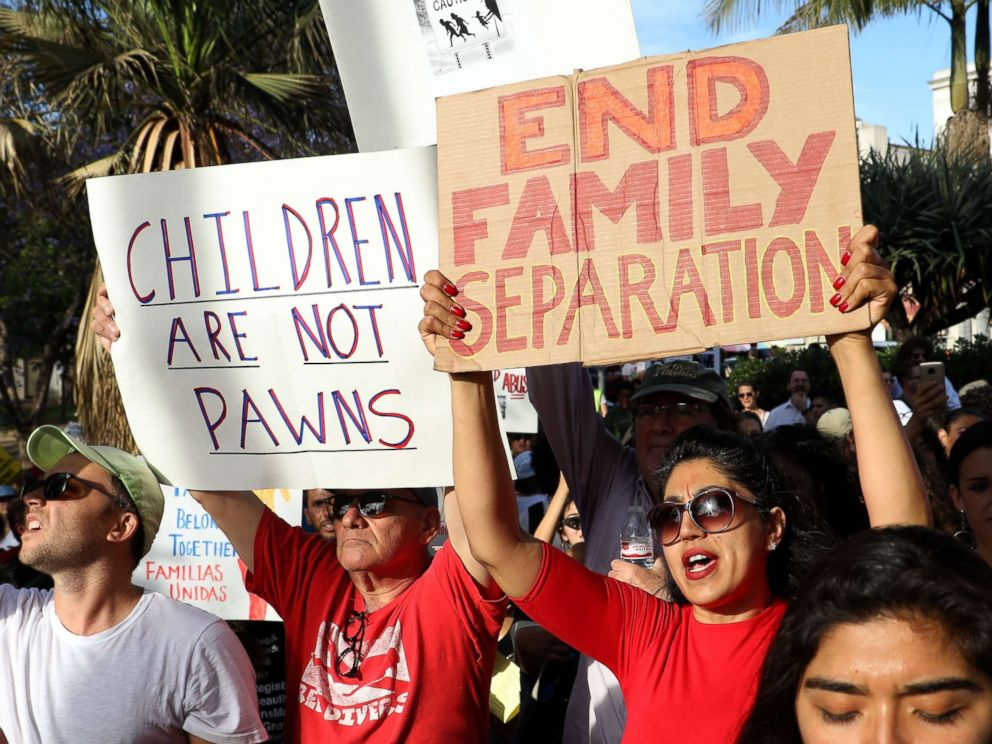 PHOTO: Protesters denounce the Trump administrations policy of separating detained immigrant children from their parents during a rally and march in Los Angeles, June 14, 2018.