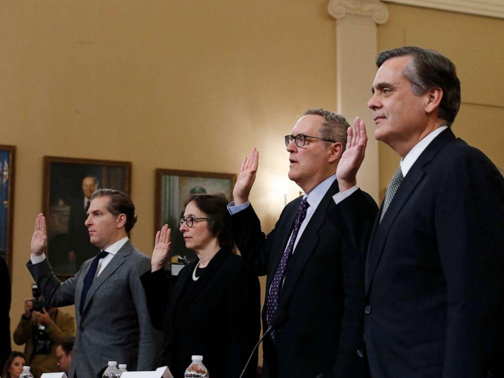 PHOTO: Constitutional law experts and professors Noah Feldman, Pamela Karlan, Michael Gerhardt and Jonathan Turley are sworn in before before the House Judiciary Committee on Capitol Hill in Washington, Dec. 4, 2019.