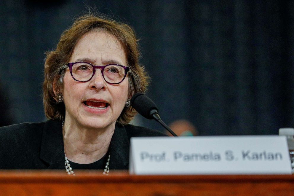 PHOTO: Pamela Karlan, professor of Public Interest Law and co-director of the Supreme Court Litigation Clinic at Stanford Law School, testifies during a House Judiciary Committee hearing on Capitol Hill in Washington, Dec. 4, 2019.