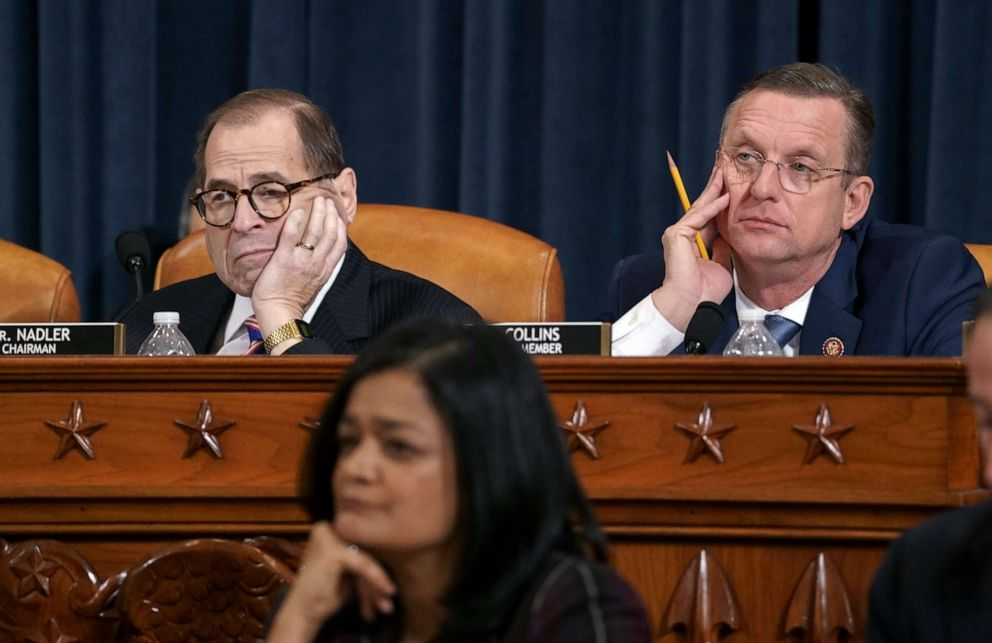 PHOTO: House Judiciary Committee Chairman Jerrold Nadler and Rep. Doug Collins, the ranking member, listen to testimony from legal scholars on Capitol Hill in Washington, Dec. 4, 2019.