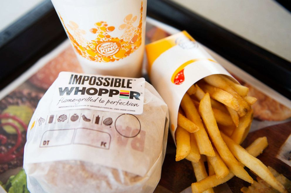 PHOTO: In this photo illustration, an Impossible Whopper sits on a table at a Burger King restaurant on April 1, 2019 in Richmond Heights, Miss.
