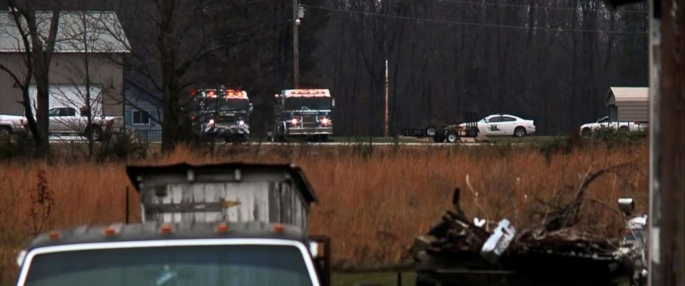 PHOTO: Emergency vehicles sit near the site of a small plane crash in a rural, wooded area of southern Indiana, Nov. 30, 2018.