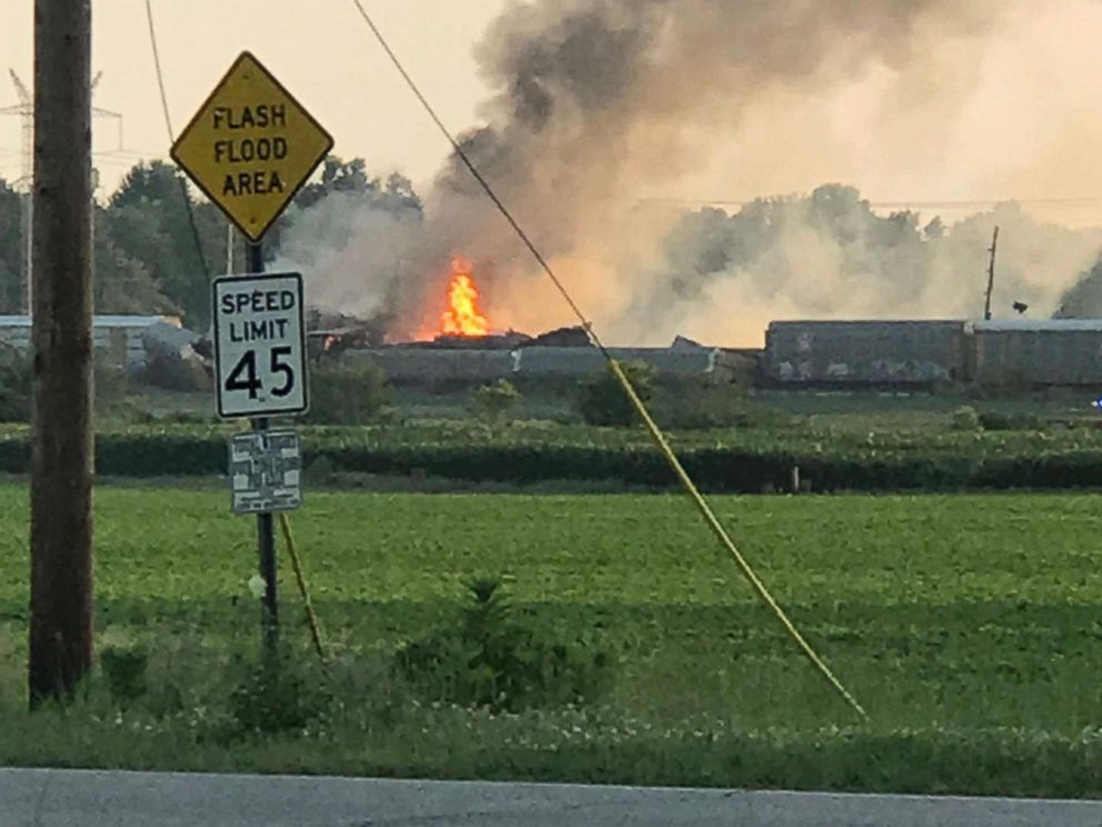 A articulate carrying freight derailed in Gibson County, Ind., prompting evacuations on Sunday, June 17, 2018.