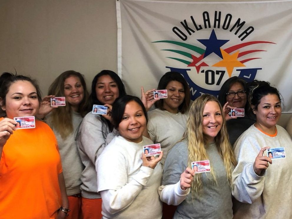 PHOTO: The Oklahoma Department of Corrections posted this picture of some women that will be discharged As part of a new law with ID cards.
