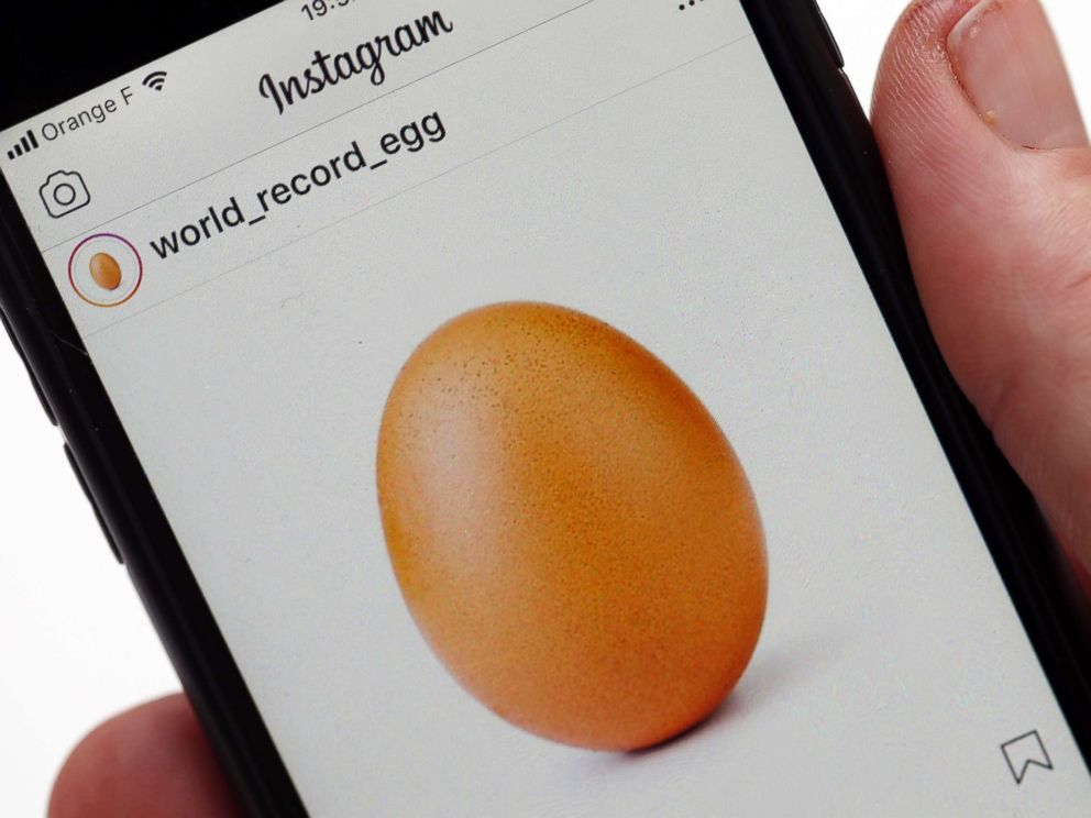PHOTO: A mobile phone in Paris shows the image of an egg which was posted to Instagram on Jan. 4, 2019.