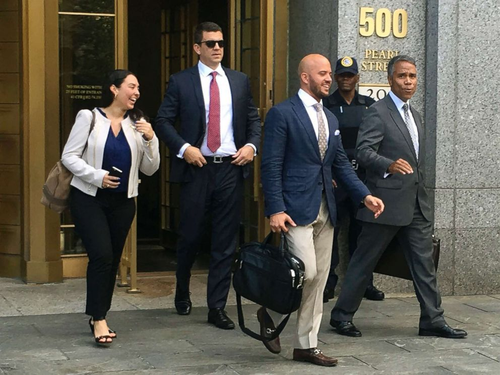PHOTO: Insys Therapeutics Inc. employees and their lawyers walk out of federal court after they pleaded not guilty to engaged in a scheme to pay doctors kickbacks to prescribe a fentanyl-based drug the company sells, in New York, Aug, 17, 2016.