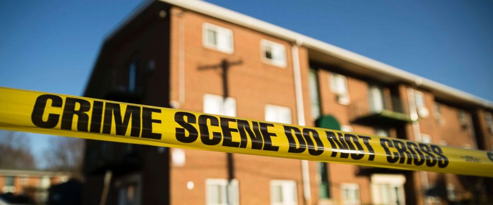 PHOTO: Crime scene tape surrounds the Robert Morris Apartments in Morrisville, Pa., Feb. 26, 2019.