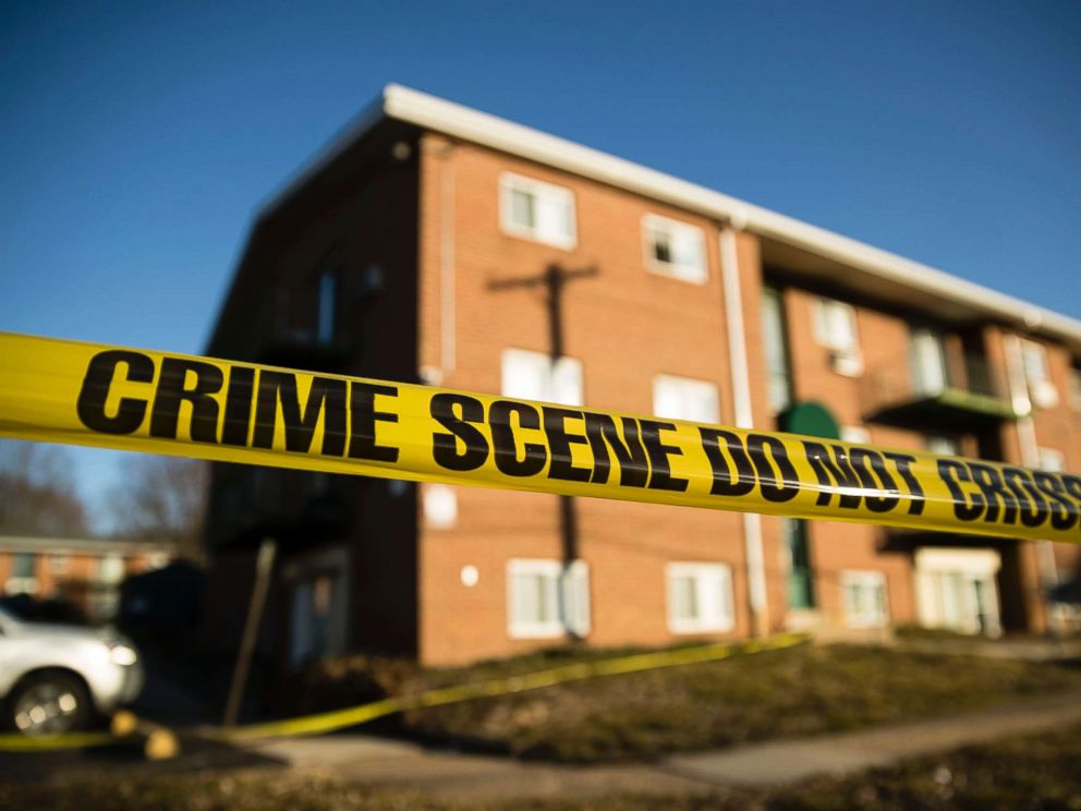 bafccd6913584 PHOTO: Crime scene tape surrounds the Robert Morris Apartments in  Morrisville, Pa.,