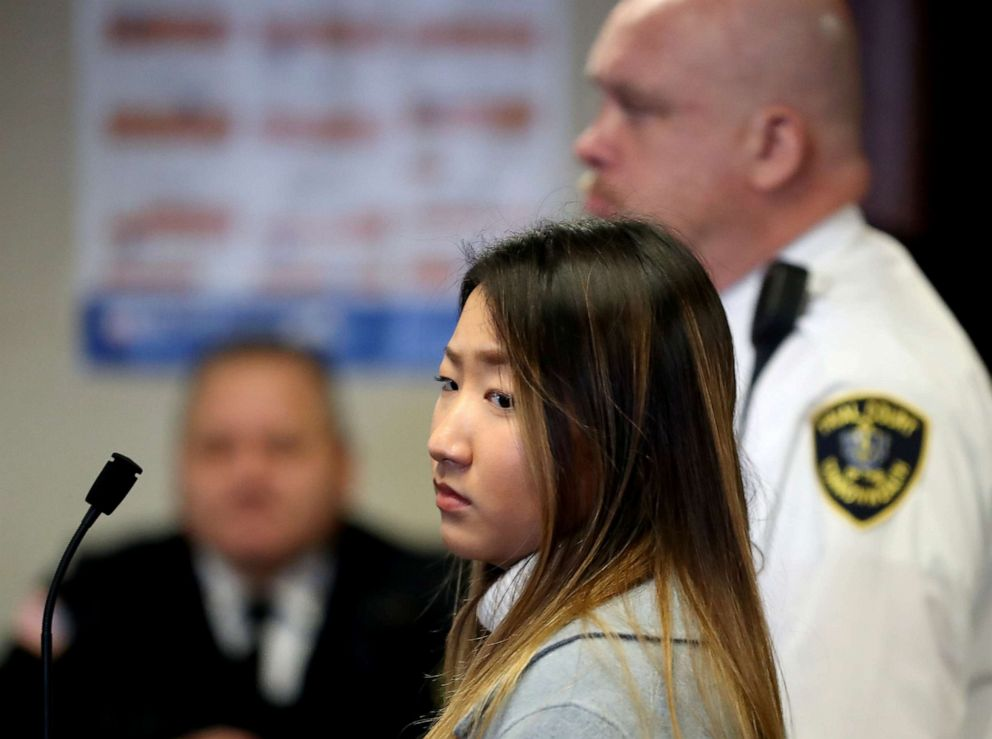 PHOTO: Inyoung You, a former Boston College student from South Korea, arrives in court to be arraigned on involuntary manslaughter charges in connection with the suicide of her boyfriend, in Suffolk County Superior Court in Boston on Nov. 22, 2019.