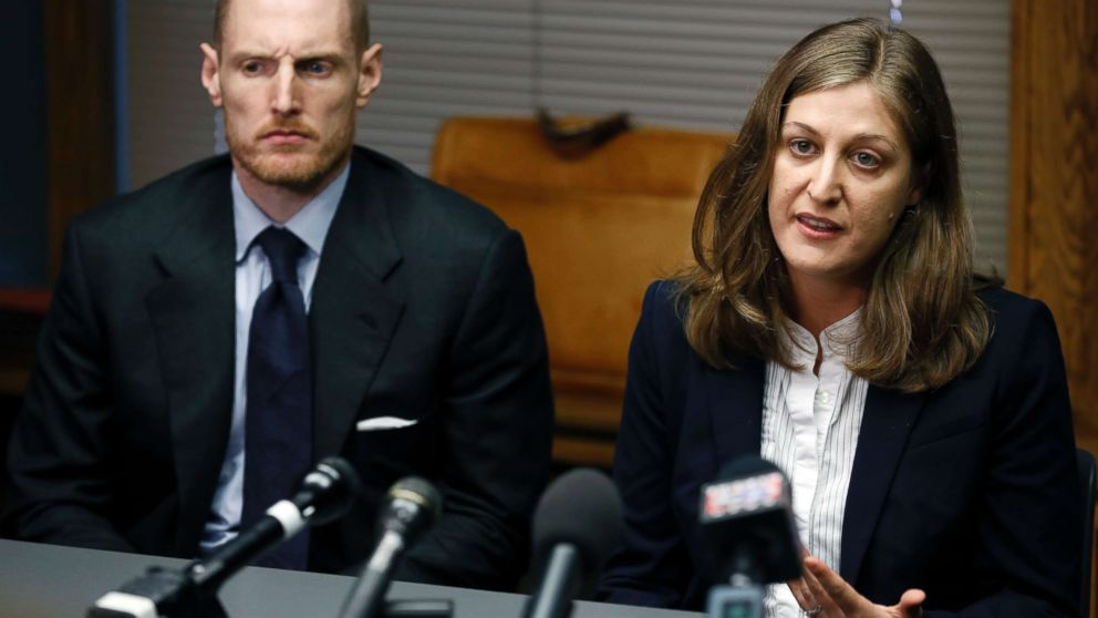 Rita Bettis, right, American Civil Liberties Union of Iowa Legal Director, speaks during a news conference as Emma Goldman Clinic attorney Sam Jones, left, looks on, June 1, 2018, in Des Moines, Iowa. A judge says he'll temporarily block the most restrictive abortion law in the country from taking effect in Iowa next month. The decision comes under an agreement between lawyers for the state and abortion rights groups that filed a lawsuit challenging the law.
