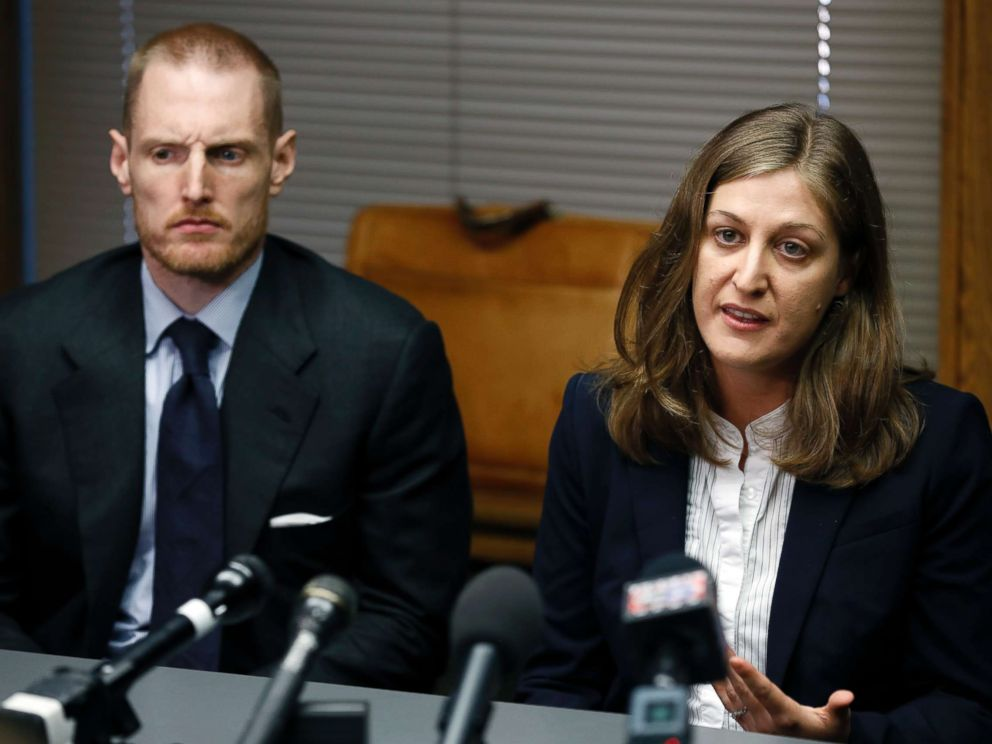 PHOTO: Rita Bettis, right, American Civil Liberties Union of Iowa Legal Director, speaks during a news conference as Emma Goldman Clinic attorney Sam Jones, left, looks on, June 1, 2018, in Des Moines, Iowa.