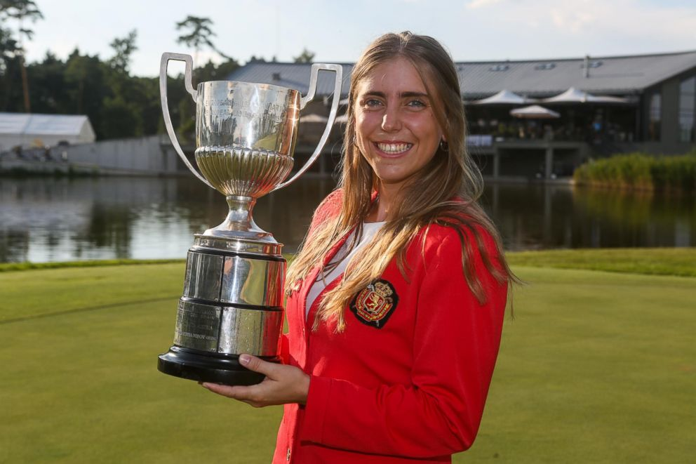 Spanish golfer Celia Barquin Arozamena with the winner's trophy at the European Ladies' Amateur Championship at Penati Golf Resort, Slovakia, July 28, 2018.