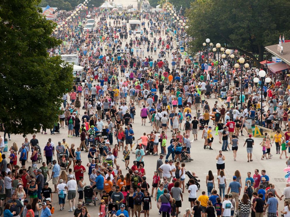 PHOTO: The Grand Concourse is crowded with visitors at the Iowa State Fair, on Aug. 18, 2018, in Des Moines, Iowa.