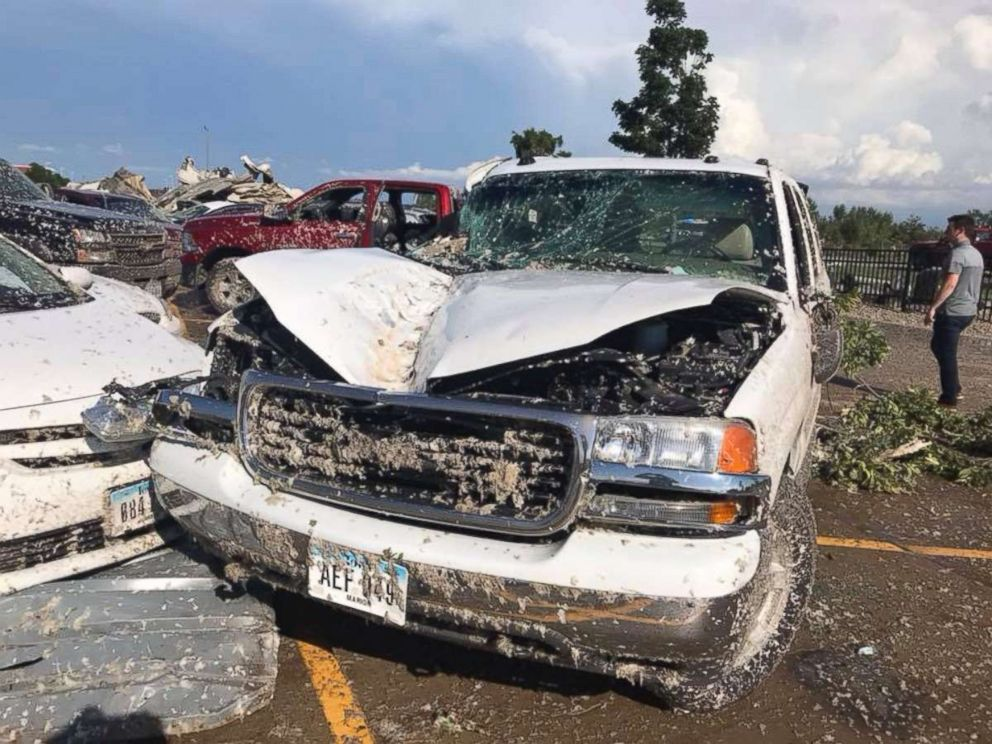PHOTO: Bryan Young posted this image of a damaged truck due to heavy winds and tornadoes in Iowa, July 19, 2018.
