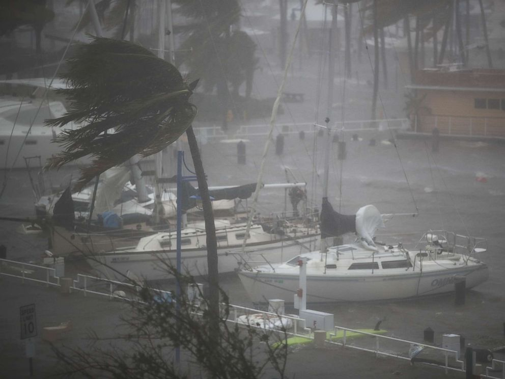 PHOTO: Boats ride out Hurricane Irma in a marina on Sept. 10, 2017 in Miami.
