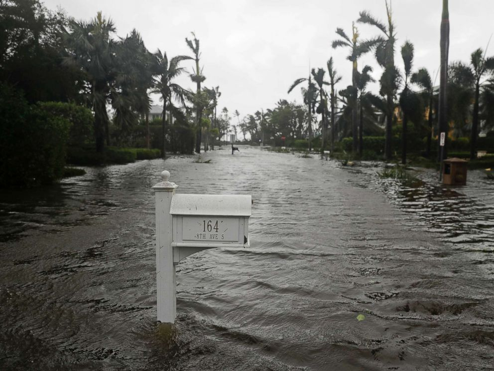 PHOTO: A street is flooded as Hurricane Irma passes through Naples, Fla., Sept. 10, 2017.
