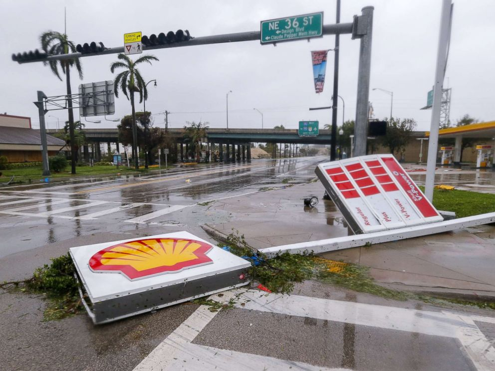 PHOTO: A gas station sign lies along Biscayne Boulevard after Hurricane Irma struck in Miami, Sept. 10, 2017.